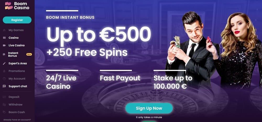 Boom Casino Homepage - non sticky casino bonus
