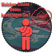 Casino Bonus präferenzen, Mann denkt an Spielautomaten