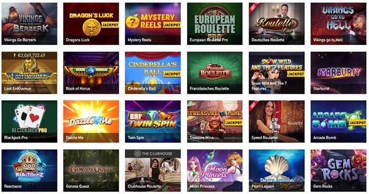 Casino Club Spielauwahl und Softwarehersteller