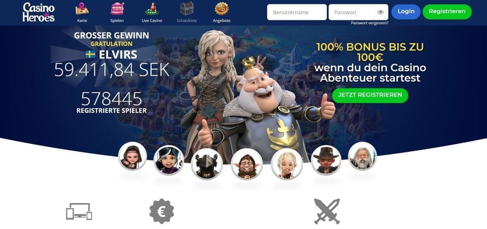 Casino Heroes Homepage - non sticky casino bonus