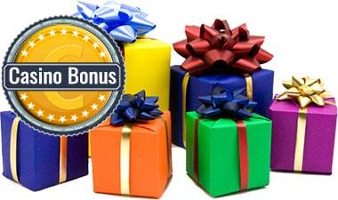 Casino Bonus logo, bunte Pakete.