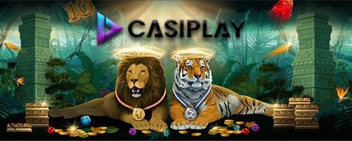 casiplay logo unt zwei löwen mit medaillen