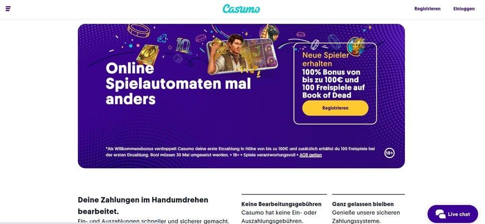 Casumo Homepage - non sticky casino bonus
