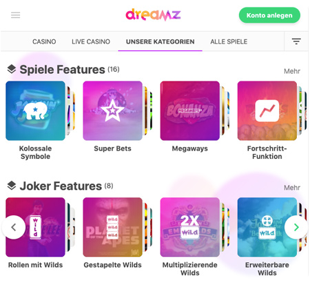 Dreamz Casino kategorien