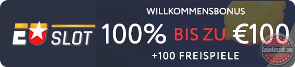EUslot logo, wilkommensbonus unt casinokomplett logo