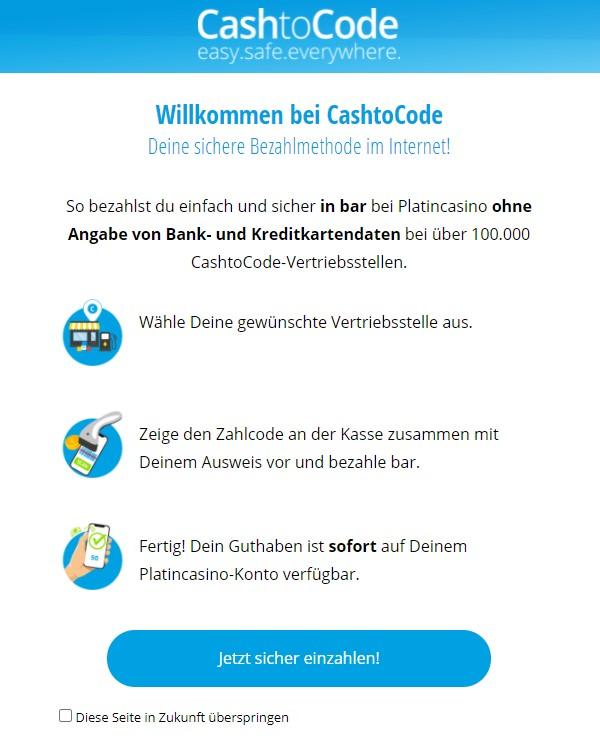 Einzahlung mit CashtoCode