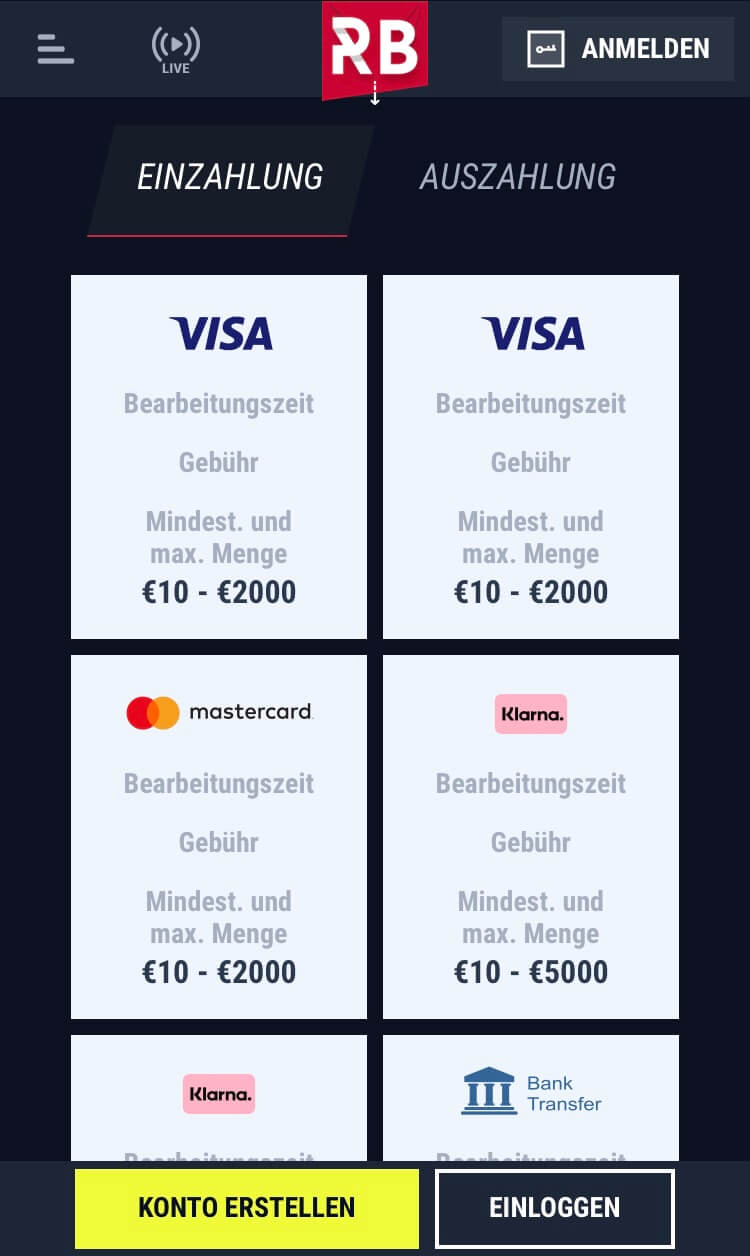 Zahlungsmethoden bei Rabona