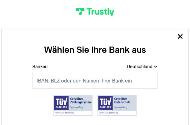 Eingabe der Bankdaten