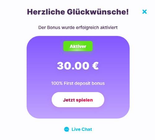 Bonus-Aktivierung mit der ersten Einzahlung