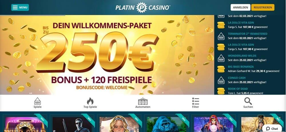 Platincasino Startseite - Online Casino mit Handy bezahlen