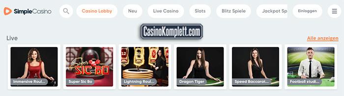 Simple Casino die spiellobby