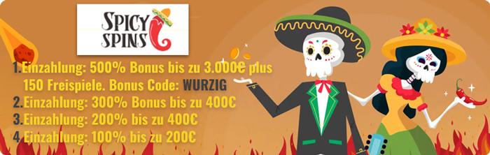 Spicy Spins mit 500% casino bonus