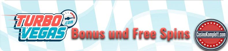 Turbo Vegas logo, bonus und free spins, casinokomplett.com logo