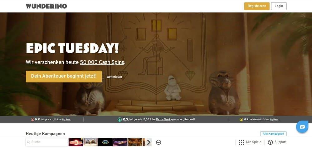 Wunderino Homepage - Online Casino mit Handy bezahlen