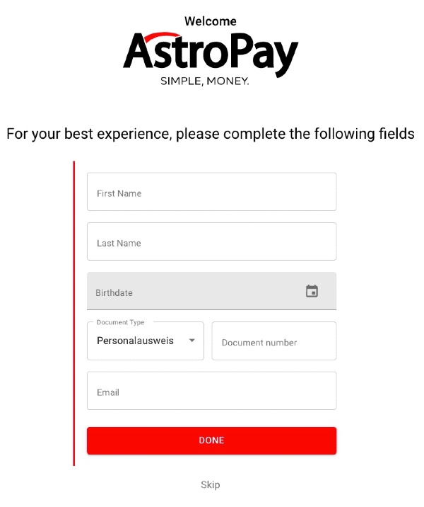 AstroPay Anmeldung – Dateneingabe