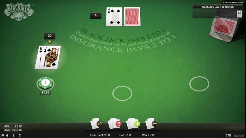 Eine Blackjackrunde mit der Split und Double Funktion