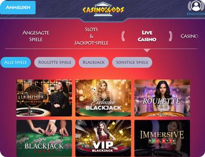 casino gods live casino lobby