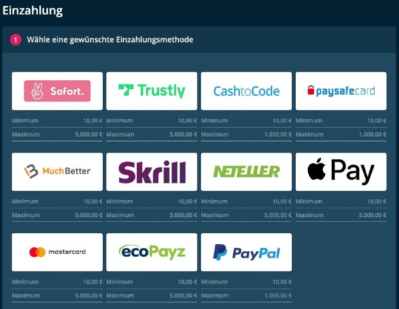 Die Einzahlungsmethoden inklusive Apple Pay