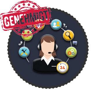 Kompetenten Kundenservice, genehmigter Stempel