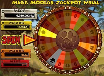 mega moola jackpot wheel