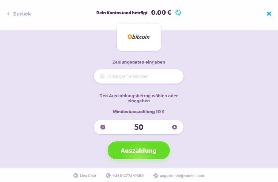 Bitcoin Auszahlung bei Nomini