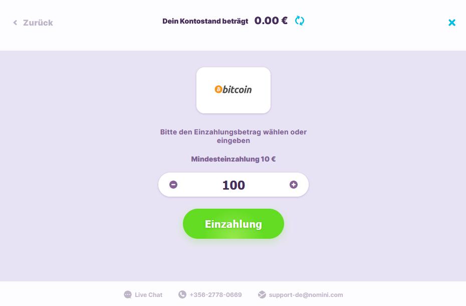 Bitcoin Einzahlung bei Nomini