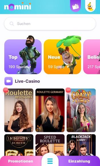 Die mobile App von Nomini