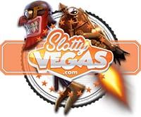 slotty vegas logo und ein verrückter Comic Typ mit Jetpack