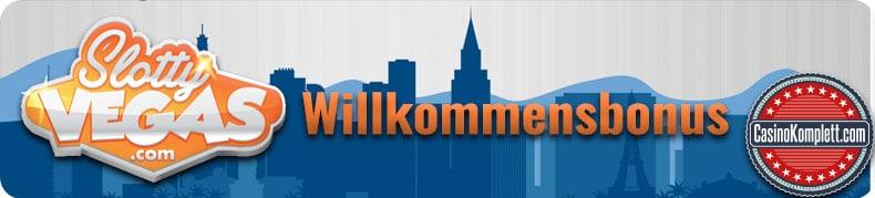 slotty vegas logo, willkommensbonus, casinokomplett.com logo