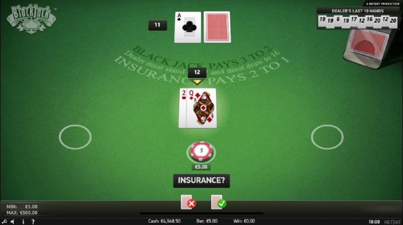 Die Versicherung bei Blackjack