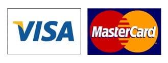 Logo von der Mastercard und der Visa-Kreditkarte